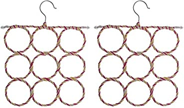 Comfortable Generous 2Pcs Circle Rings Scarf Holder Tie Hanger Belt Closet Clothes Organizer Hook Storage 9 Holes