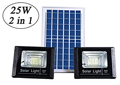"""Solar Flood Lights Outdoor Dusk to Dawn,13.7""""x 9.4"""" Solar Powered Panels,IP67 Waterproof,Remote Control,Dual 40 LEDs 8500K White Light Source,Auto On/Off for Yard,Patio,Driveway,Porch,Garage,Barn"""