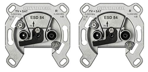 Kathrein ESD 84 Antennen-Steckdose 2-fach (TV, Radio, Breitband Einzelanschlussdose) (2 Stück Antennensteckdose)