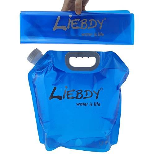 Liebdy® Faltbarer Wasserbehälter 5 Liter, BPA frei, mit dichtem Deckel + Griffmulde, Flexibler Wasserkanister für Unterwegs, Camping, Festival | blau