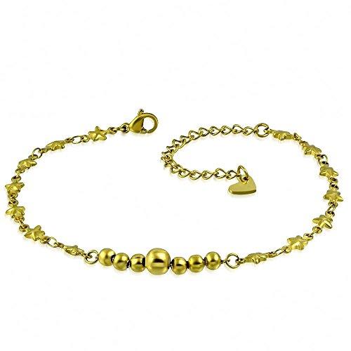 Bungsa® gouden bedelarmband met bolletjes, sterren en harten, roestvrij staal, met karabijnsluiting