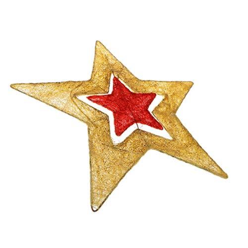 Baoblaze Étoile de Noël en Fer et Ficelle pour Sapin Doré, Rouge et Jaune - Or