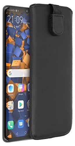 mumbi Echt Ledertasche kompatibel mit Huawei P30 Pro Hülle Leder Tasche Hülle Wallet, schwarz