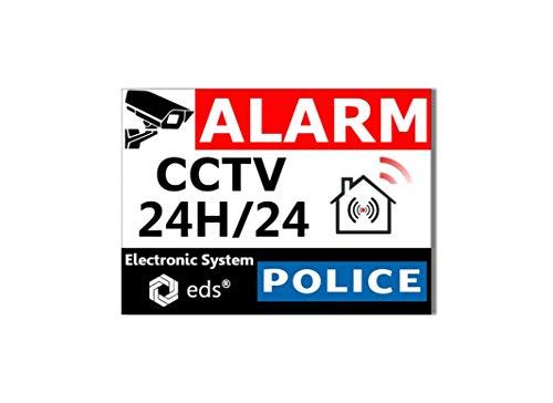 Juego de 8 pegatinas de sistema de alarma CCTV alarma de policía antirobo para casa, edificio, tienda, garaje, sol y resistente al agua y calidad profesional.