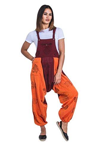 Wash Clothing Company Baggy Harem Latzhosen - Orange Boho Hippy Overalls OPELORANGE-L