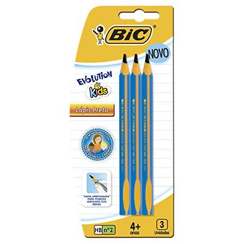 Lápis Preto Jumbo Nº 2HB Triangular, BIC, Evolution KIDS, 902494, 3 unidades, Cores Sortidas