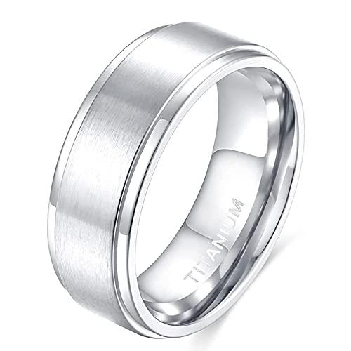 Zakk Anillo para hombre y mujer, de titanio, alianzas de boda, de plata cepillada, 4 mm, 6 mm, 8 mm, Titanio.,