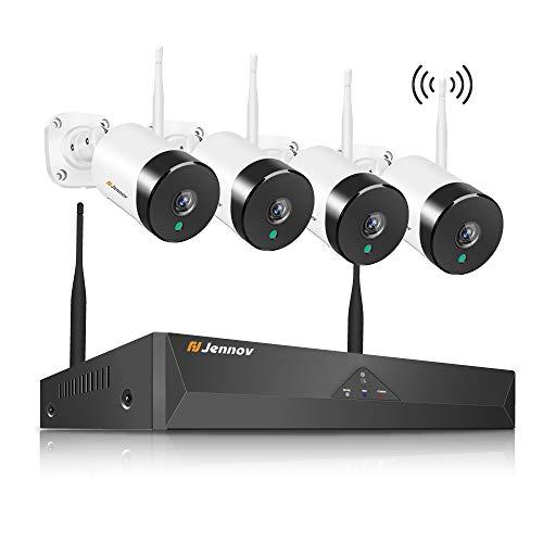 Jennov WLAN Überwachungskamera Set mit Audio, 4CH NVR 5MP Kabellose Sicherheitskamera mit Mikrofon HD Wasserdicht Außen Kamera IR Nachtsicht 1TB HDD