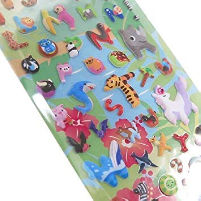Cute Alpaca Shark Animal Alphabet Puffy 3D Sponge Stickers from Japan