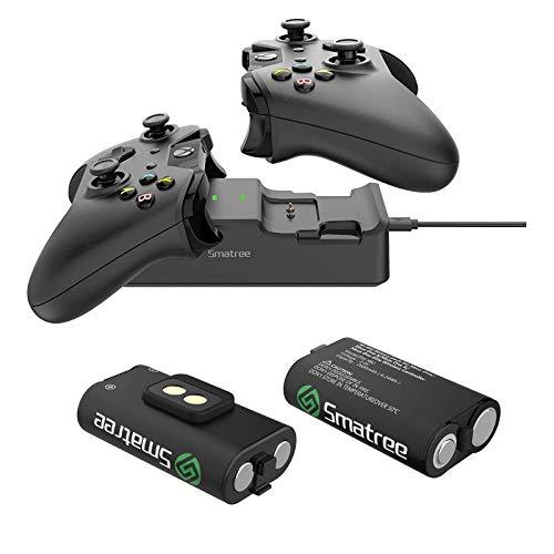 Smatree Caricabatterie Doppia stazione di ricarica con 2 batteria ricaricabile per Xbox One/Xbox One S/Xbox One X/Xbox One Elite Wireless Controller.