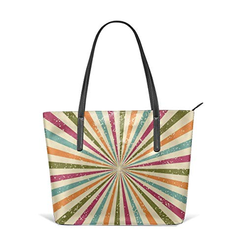 XGBags Custom Borse a spalla da donna Circus Style Colour Stripes Leather Zipper Tote, Ladies Shoulder Bag, Shoulder Bag