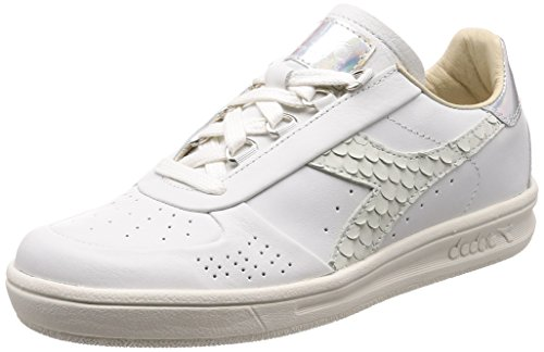 Diadora B.Elite W ITA Premium Sneaker Donna, Bianco/Argento 36