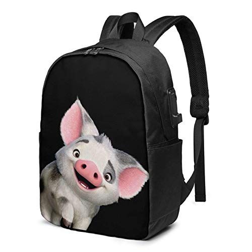 Richard Moana Pua The Pot Bellied Pig Logo Busin Laptop School Bookbag Travel Bapack with USB Charging Port & Headphone Port Fit 17 in