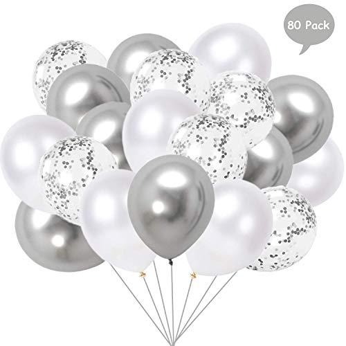 Yisscen 80 Stück Luftballons Silber Weiß, 12 Zoll Luftballons Silber Konfetti Ballons Latex Ballons Helium Bunt Luftballons für Hochzeit Mädchen Jungen Geburtstag Party Dekoration (Silber)