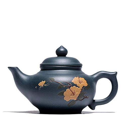 GLXLSBZ Tetera de Arcilla púrpura de té, teteras de Hierro Fundido, Tetera de 300Ml Pintada a Mano, Tetera de Arcilla púrpura, Tetera de Kung Fu, Tetera de Cereza, Tetera