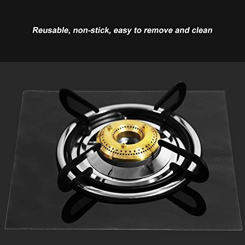 Revestimiento de quemador de estufa de gas duradero seguro fácil de instalar Protector de estufa de gas Protector de rango de gas Cocina para el hogar(black)