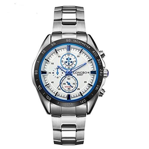 Mode Uhr LONGBO 3975 Import Quarzwerk Mode Sport Herrenuhr mit Edelstahlband, Leben wasserdicht, Leuchtend, DREI Deko-Zifferblätter (blau) ZHU Mode-Uhr (Farbe : Blue)
