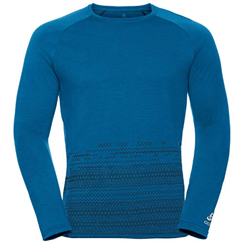Odlo Alliance Longsleeve Homme-Manches Longues, Mykonos Blue-Imprimé géométrique FW19, XXL