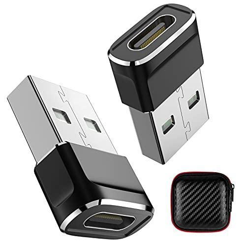 Adaptador USB C a USB(2 Pack), ACAGET Adaptador Tipo C Hembra a USB A Macho, Conector de Cable Cargador Tipo C a USB A para iPhone 13/11/12 Mini Pro MAX Samsung S21+/S20 FE Ultra,Oneplus 9 Pro/9/8T