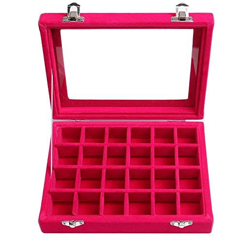 Caja de Almacenamiento de Joyas con Anillo de 24 Pendientes, Elegante Caja de Bandeja apilable para Joyas, Rojo Ciruela