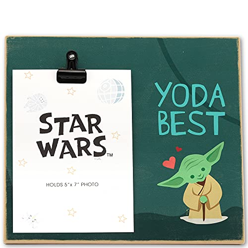 Open Road Brands Disney Star Wars Yoda Best Wood Photo Clip Frame for 5x7 Picture - Cute Décor for Kids' Bedroom, Office or Nursery