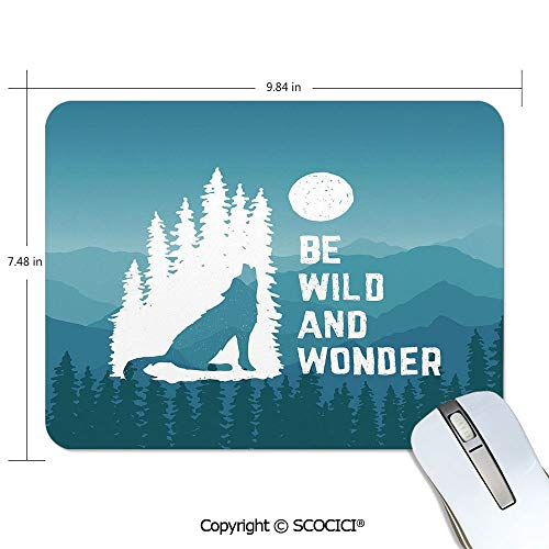 """Non-Slip Rubber Base Mouse pad,7.48""""x9.84""""x0.2""""inch Suitable for laptops,Computers,PCs,Keyboards,Adventure,Hand Drawn Be Wild and Wonder Quote Howling Wolf in The Woods Under Moon,Night Blue White"""