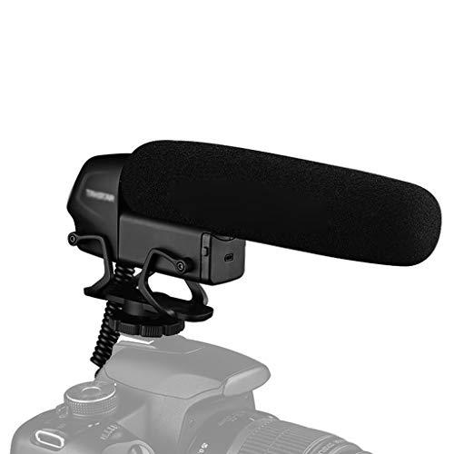 JJZXD Condensador en la cámara Micrófono para entrevistas Micrófono Supercardioide de 3 Niveles Control de Ganancia Interruptor de Corte bajo Enchufe de 3,5 mm
