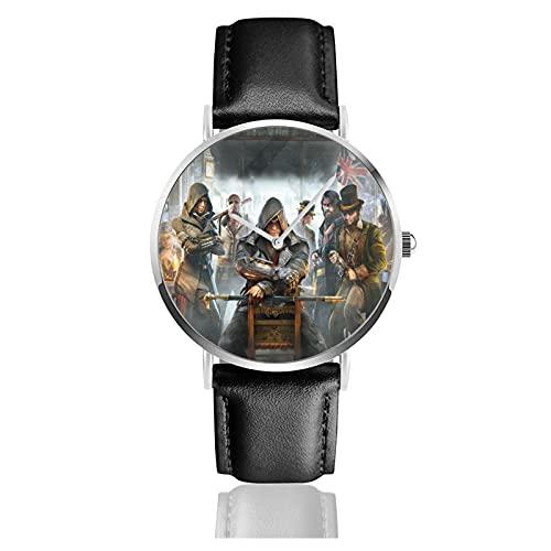 Famous Assassin'S Creed Imagen Personalizada Personalizada Reloj Deportivo Unisex con Correa de Cuero Relojes de Cuarzo Reloj de Pulsera para Hombres y Mujeres