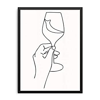 Abstract Line Drawing Wall Decor Art Print Poster 11x14 UNFRAMED Minimalist Artwork for Dining Room Kitchen or Living Room Picture Gallery - Gifts for Wine Lovers  OPTION 1