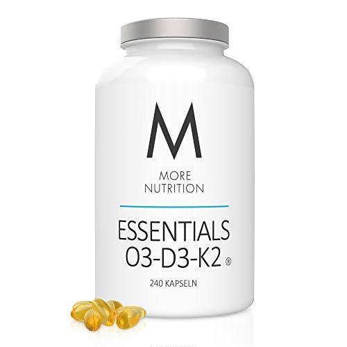 MORE NUTRITION Essentials O3-D3-K2 – Komplex aus Omega-3-Fettsäuren, Vitamin D und K – 240 Kapseln mit Fischöl (Hochwertiges EPA und DHA) Halal dank Kapselhülle aus Rindergelatine