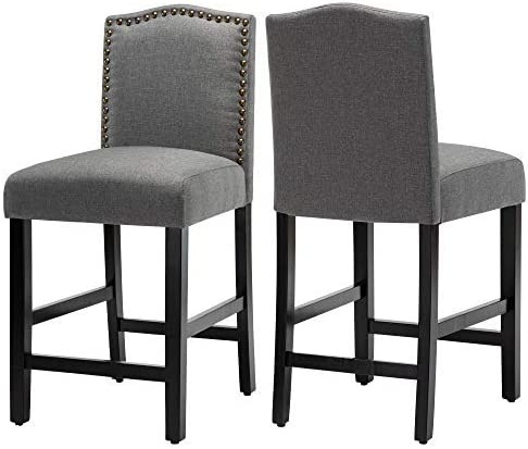 24 inch Fabric Counter Backed Bar Stools, Kitchen Island Wood Dining Chairs with Nailhead Trim and Rubber Wood Legs,Gray (Set of 2)