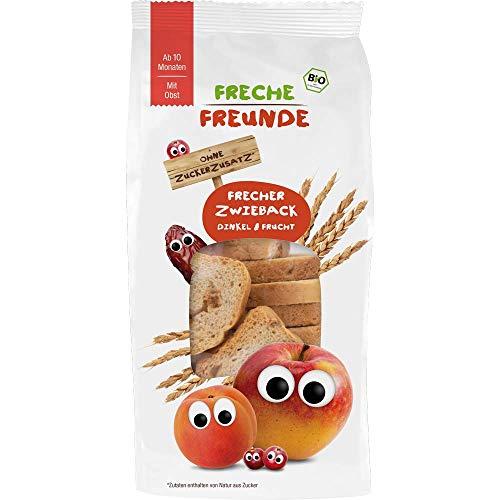 Freche Freunde Bio Zwieback Dinkel & Frucht, ohne Zuckerzusatz, mit getrockneten Bio-Fruchtstücken, Kindersnack für Babys ab 10 Monaten, 5er Pack (5 x 100 g)