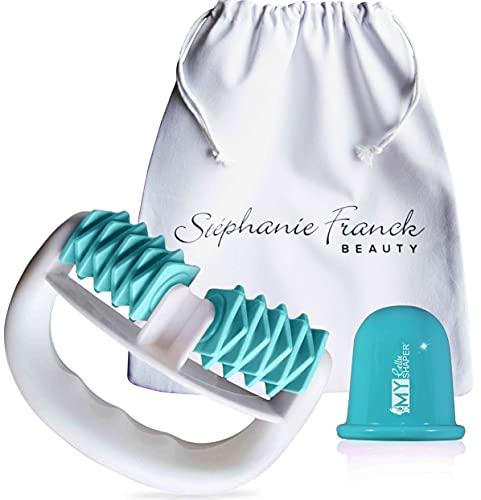 Stephanie Franck Beauty Kit con coppetta anticellulite e rullo massaggiante in una borsa di cotone (turchese)