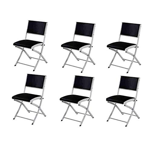 LLSS chair Deluxe Folding Chairs,Black PU Cushioned Seat,Strong Steel Frame,Max Weight 150 Kg,Pack Of 6 Environmental rating