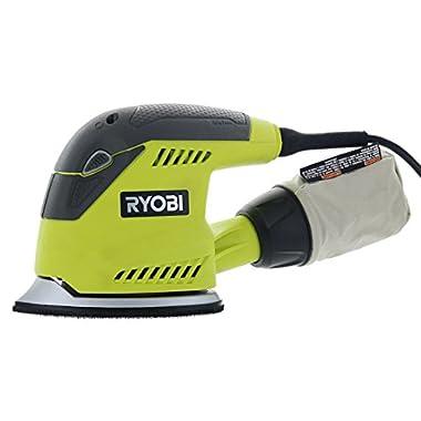 Ryobi CFS1503GK Compact Corner Cat 12,500 OPM 1.2 Amp Corded Orbital Finishing Sander w/ 10 Pads and Carrying Case