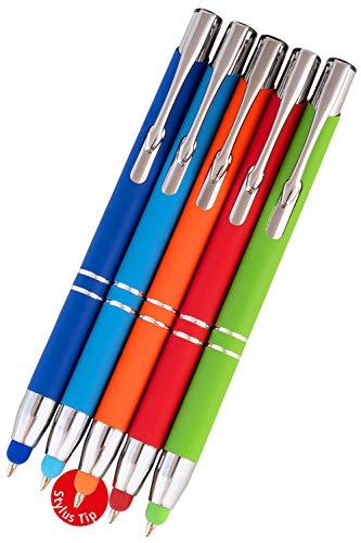 Online Touchscreen Pen | Eingabe-Stift und Kugelschreiber in einem | Handyzubehör Stift zur Nutzung auf Tablet, Smartphone, Tastaturen, Multifunktions-Stift | 5er Set inkl. Ersatz-Tips