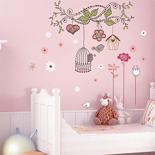 XCWQ Muurstickers schillen en lijmen Muurtattoos PVC Muursticker baby kamerdecoraties bloem vogelkooi huis sticker 50X70