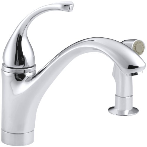 KOHLER K-10416-CP Forte Single Control Kitchen Sink Faucet with Sidespray...