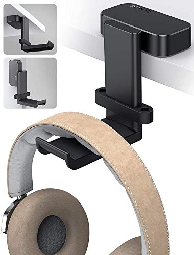 Lamicall Headphone Stand, Headset Holder - 360 Degree Rotation Earphone Stick Hook Hanger Mount, Table Headphone Stand with Cable Organizer, Gaming Headset Clamp for HyperX, Sennheiser, Sony - Black