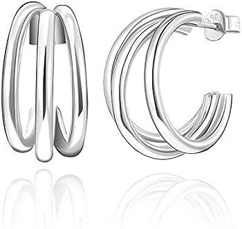 SWEETV 925 Sterling Sliver Triple Hoop Earrings