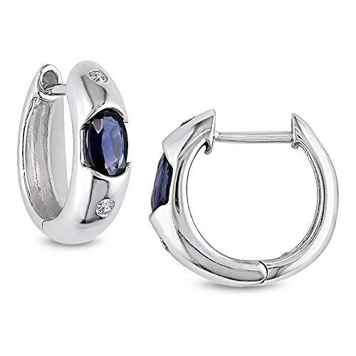 Ani's Pendientes de aro con diamantes ovalados de 1/20 quilates de zafiro azul D/VVS1 chapados en oro blanco de 10 quilates con plata de ley 925