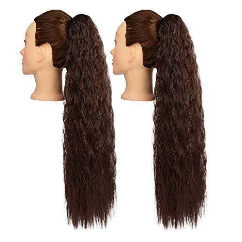 YMHPRIDE 2 piezas de 28 pulgadas de largo marrón oscuro con cordón de cola de caballo rizado extensión de cabello extensiones de cabello sintético de cola de caballo postizo para mujeres