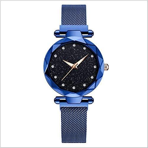 WFQ Armbanduhr für Damen, elegant, lila, magnetische Schnalle, für Damen, Sternenhimmel, Geschenkuhr, mit Stern-Zahlen, Fmw03Blue