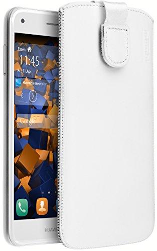 mumbi Echt Ledertasche kompatibel mit Huawei Y6 Pro 2017 / P9 Lite Mini Hülle Leder Tasche Hülle Wallet, Weiss