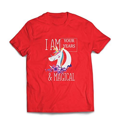 lepni.me Mannen T-shirt I am Custom Years Magical Unicorn Custom Birthday Gift