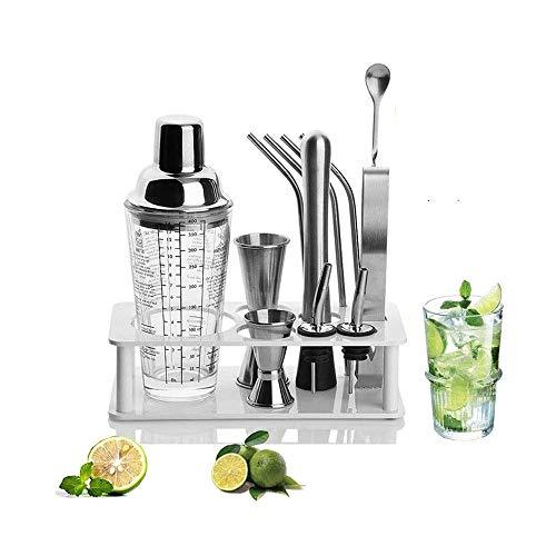 XUERUIGANG 400 ml Elite Cocktail Shaker Set Bartender Kit, Martini Mezcler, Muddler, Cuchara de Mezcla, Jigger, 2 Licor Voulters, Manhattan y Otras Bebidas en casa (Plata)