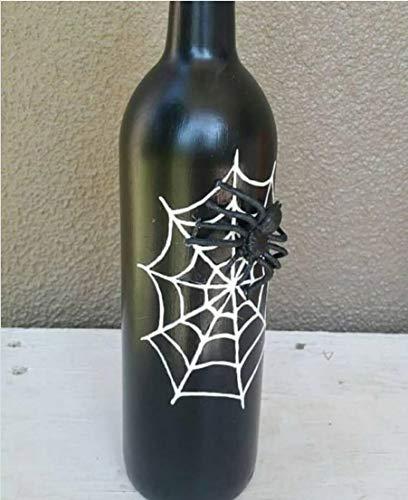 Crafting with Love - Jarrón decorativo pintado a mano, diseño de araña para decoración del hogar o de la vida o se puede utilizar como maceta, material: vidrio, color: negro
