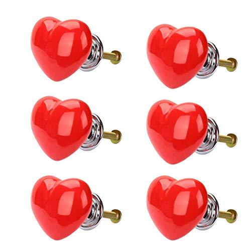6 pomelli in ceramica a forma di cuore, cassetti, maniglie per mobili, armadi, armadi, armadietti, armadio, ricambio rosso
