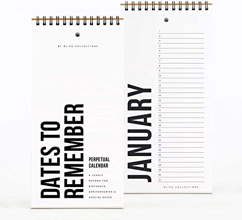Bliss Collections Black Perpetual Calendar, Important Dates to Remember, 5x10 Monthly and Daily Wall Hanging Journal for Special Days, Birthdays, Anniversaries — Stay Organized - Never Forget a Date!