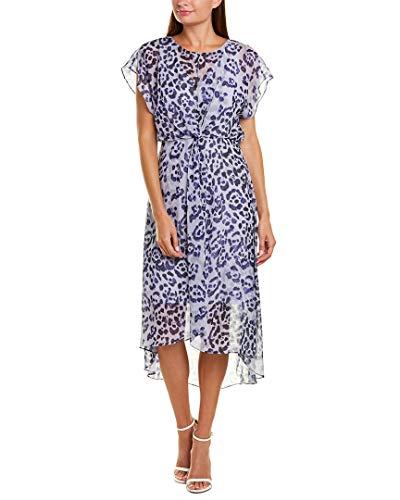Adrianna Papell Women's Watercolor Leopard Twist Dress, Purple Multi, 10